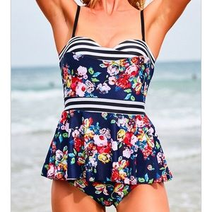 Other - Floral and navy striped tankini NEW! Medium